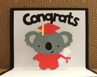 Koala Graduation Card - Pop Up Graduation Card - 2018 Koala Graduation Card