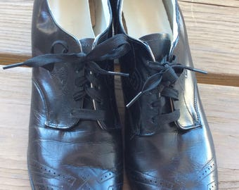 1920s 1930s vintage granny shoes size 7 narrow funky retro 20s30s