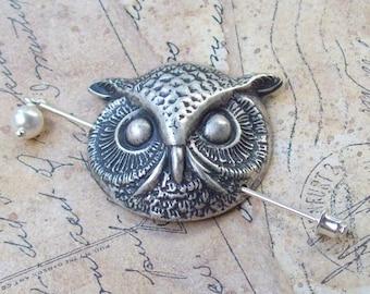 Owl Shawl Pin, Lapel Pin, silver shawl pin, animal, bird, sweater pin, silver owl, fall fashion, scarf pin, owl head, owl face