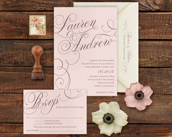 Printable Wedding Invitation and RSVP Set Calligraphic Names Soft Blush Pink