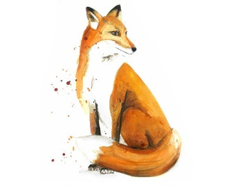 Fox Watercolor Digital Art Print Fox Illustration | Fox Print | Fox painting | Watercolor Painting | Digital download | High res 300 dpi