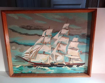 Antique Oil Painting of a Fully Rigged Sailing Ship Boat Vessel Sea Picture Framed