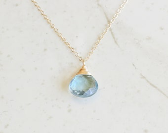 March Birthstone,Aquamarine Necklace, Aquamarine Necklace Silver, Minimalist Necklace,Gift For Her