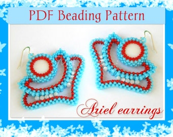 DIY Beading pattern Ariel earrings / PDF tutorial with detailed instructions, images and diagrams / Cubic Right Angle Weave / RAW 3D