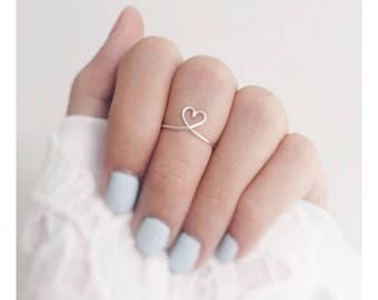 Reversible Silver Heart to heart midi Ring,birthday gift,stackable ring,love ring,heart rings,silver wire ring,natural,bridesmaid gift