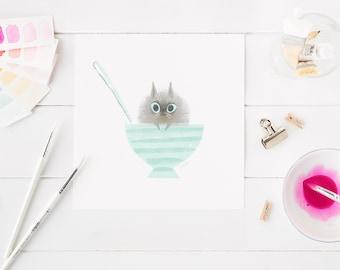 Kitty print, teacup kitty, funny cat, fluffy kitten, gift for cat owner, gift for cat mom, kawaii kitty, kawaii cat, kitten artwork, cartoon