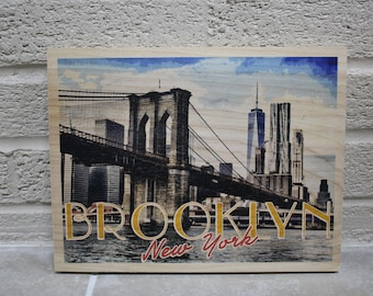 Brooklyn New York Wood Poster Print -Travel Poster -Gift for him -Gift for her -Ready to hang