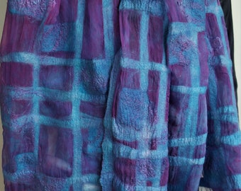 Nuno felt scarf. Large blue purple silk felted shawl. Wrap for women.