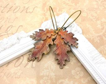 Autumn Earrings - Oak Leaf Earrings - Vintage Style Brass Patina Earrings - Bronze Handmade Hand Painted Fall Autumn Leaf Earrings Jewelry