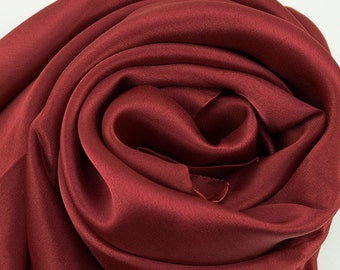 Burgundy Red Silk Scarf - Wine Red Silk Scarf - Ruby Red Silk Scarf - Silk Georgette Satin Scarf - AS250