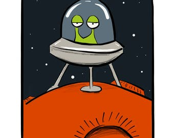 Green Alien on an Orange Planet Cartoon Illustration