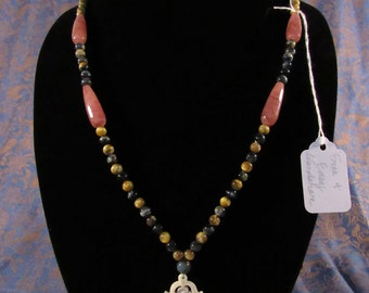 """Birdcage Necklace Tiger's Eye and Strawberry Agate (28"""" + 2.5"""" pendant)"""