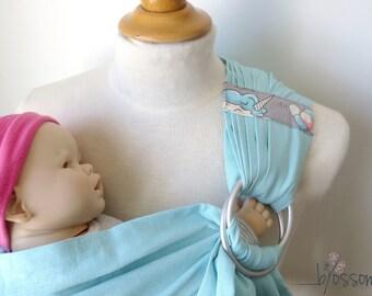 Ring sling, Linen ring sling, Ring sling blossom, Baby carrier, Unicorn pattern, Baby gift, sling