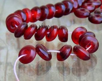 Red Horn Donut Rondelle Beads 50
