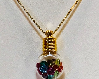 "16"" Faceted Gemstones in Gold Glass Vial/Tube Pendant Necklace"
