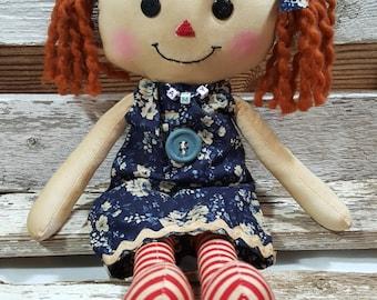 Raggedy Amy Jean Annie Primitive Doll Raggedy Ann Blue Floral Pillow Dress Annie Doll Ready To Ship!
