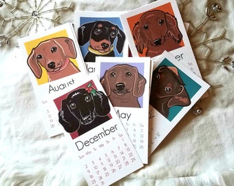 2018 Dachshund Calendar - Printed on Recycled Linen Paper