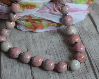 Pink necklace, raku necklace, bead necklace, raku beads, pink beads, ceramic necklace, raku ceramic, mother's day, ceramic beads