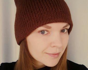 Double knit women hat brown knit hat winter knit hat double beanie hat brown beanie winter beanie hat winter knit hat brown women knit hat