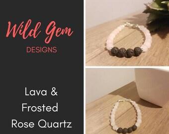 Lava and Frosted Rose Quartz Classic Children's Bracelet
