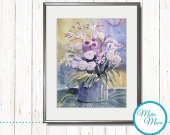 "Watercolor ""White flowers"" original painting"