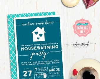 "Housewarming Party Invitation ""Cobalt Home"" (Printable File Only) Housewarming Invite, New Home, We've Moved Invite, Moving Announcement"