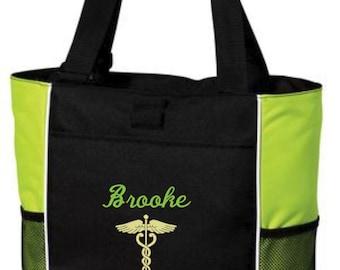 Nurse Bag, Nurse Tote, Nurse Tote Bag, Caduceus Tote, Nurse Gift, Tote Bag, Personalized Tote, rn, lpn, bsn, Tote, Personalized