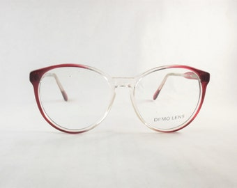 Clear Eyeglasses, Burgundy Glasses, Big Red Eyeglasses, Round Glasses, Cat Eye Glasses, Vintage 1980s Two Tone Frames, Transparent Glasses