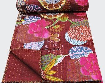 100% Cotton Bedspread Crazy Blanket Bedsheet Queen Size Tropical Kantha Quilt Handmade Quilts Reversible Bedding Queen Cotton Bedspread