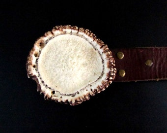 Handcrafted Shed Elk Antler Burr Belt Buckle  BB-42