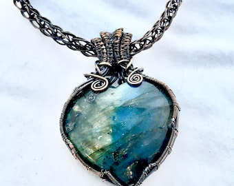 Copper Wire Wrapped Heart Shaped Labradorite Pendant on Viking Knit Chain
