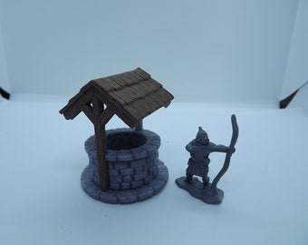 28mm tabletop Village well for Wargaming Dungeons and dragons Warhammer 40k Cthulhu etc