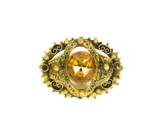 Amber Brooch - Bronze/Gold Tone Setting - Mid-Century Brooch Pin