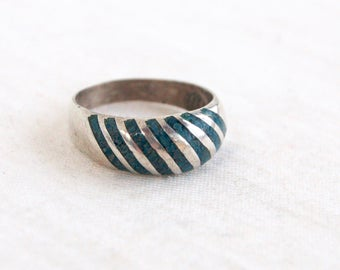 Striped Turquoise Ring Band Size 6 Domed Sterling Silver Vintage Mexican Southwestern Jewelry