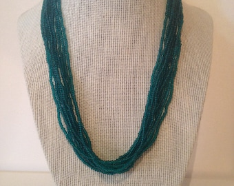 Teal,seed beaded necklace,multi strand necklace,layering necklace,teal necklace,boho necklace,statement necklace,beaded necklace