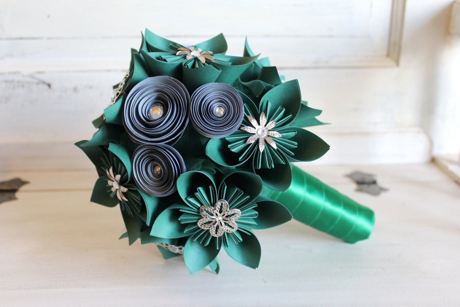 Emerald Green and Silver Origami Bouquet Harry Potter