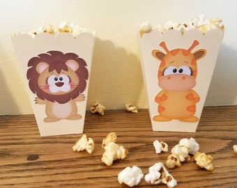 Jungle themed popcorn boxes, Jungle Themed Popcorn Favors, Jungle Birthday Party Favor