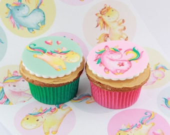 Unicorn Rainbow edible fondant cupcake Toppers, 12 cake decorations or party favour treats
