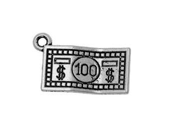 8 - 100 Dollar Bill Charms in Silver tone - C2249