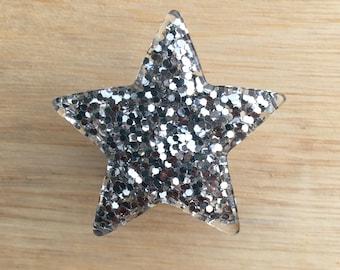 Silver Glitter Star Drawer Knob - Cabinet Knob (RK04-02)