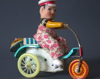 Fathers day Sale !!! 1970s bicyclist chinese toy tin clockwork mechanical vintage bike china