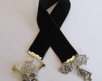 Black Velvet Bookmark With Skulls - Skeletons Day of The Dead - Dia de los Muertos Ribbon Bookmark