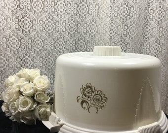 Locklift Cake Carrier / Vintage Cake Carrier / Vintage Cake Plate / 60's Kitchen / Retro Kitchen / Master Chef / White Cake Carrier