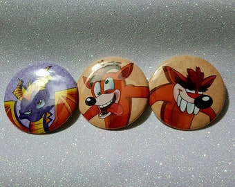 Spyro and Crash Buttons 2.25 inch