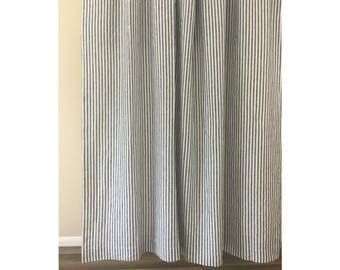 Navy And White Striped Shower Curtain Mildew Free 72x72 72x85 72x94 Or Custom Size