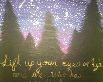 Starry Colorful Night with Bible Quote Painting