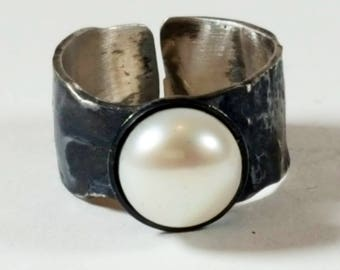 Reticulated and oxidised sterling silver pearl ring