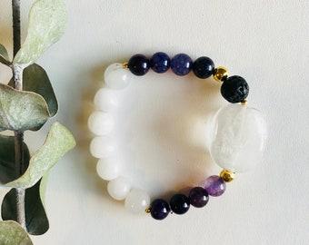 Essential Oil Diffuser Bracelet, Crystal Quartz, Agate, Mala Bracelet, Yoga Bracelet, Gemstone Bracelet, Meditation Bracelet, Spiritual Gift