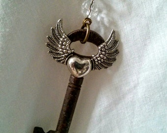 Wanderlust Key Travel Necklace - Steampunk Vintage Key Winged Heart Long Necklace - Layering Boho Necklace
