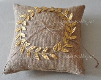 Burlap ring pillow Laurel Wreath Burlap Ring Bearer Pillow Gold Leaf Ring pillow Woodland / Rustic / Cottage style Weddings